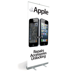 Apple Pull Up Banner Showing Cracked Phone with Design and Print
