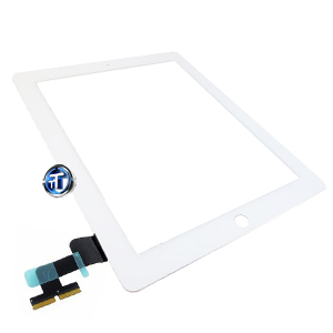 iPad 2 Digitizer Touch White Complete with Home Button, Home Button Flex, Camera Bracket, Adhesive (High Quality)
