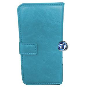 iPhone 5, 5S Luxury Designer Leather Flip Case in Cyan Blue