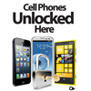 Cell Phones Unlocked Here Poster on Thick UV Protected Paper  (choose your language)