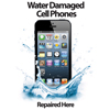 Water Damaged Mobile Cell Phone in Water Splash Poster Gloss Laminated  (choose your language)